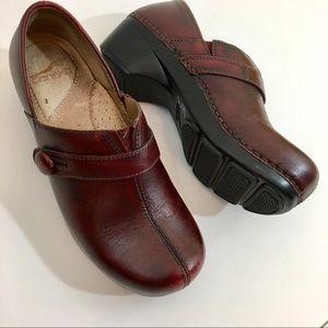 Dansko Burgundy Leather Clogs